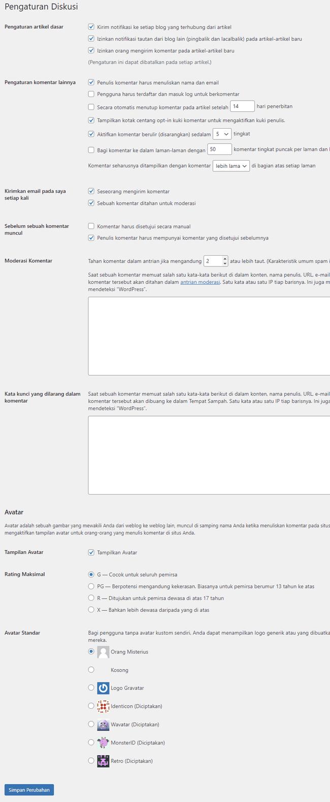 cara setting wordpress diskusi