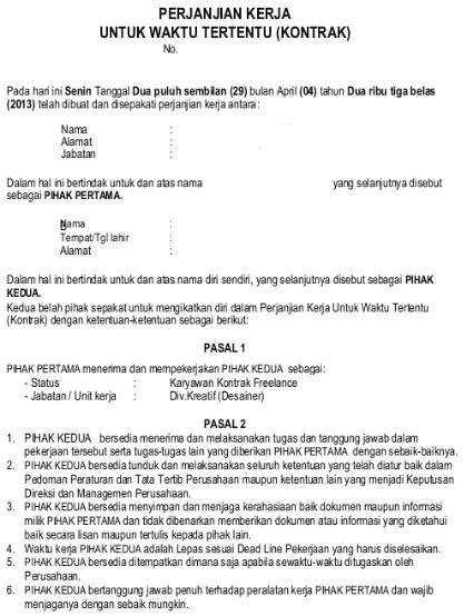 contoh kontrak kerja freelance halaman 1