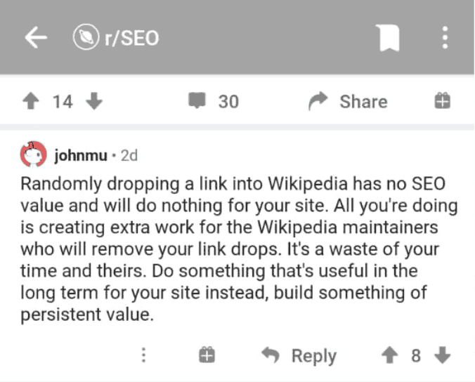 backlink wikipedia tidak berguna menurut john muller