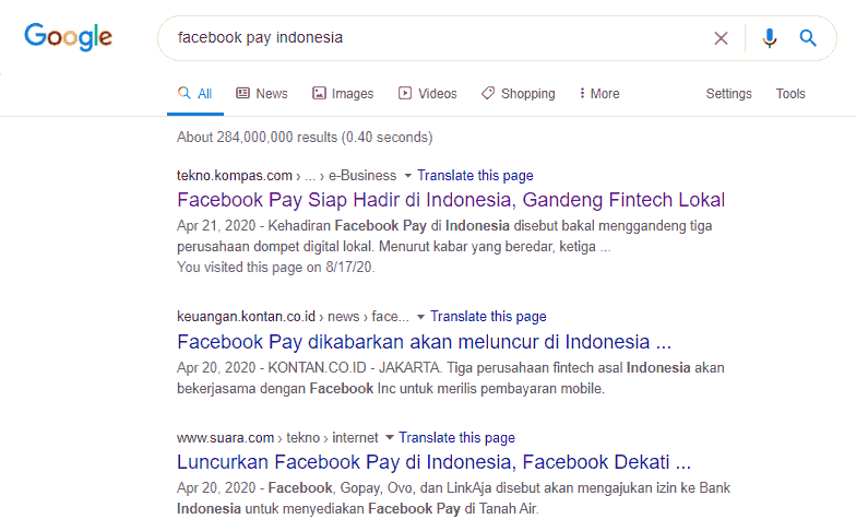 facebook pay indonesia