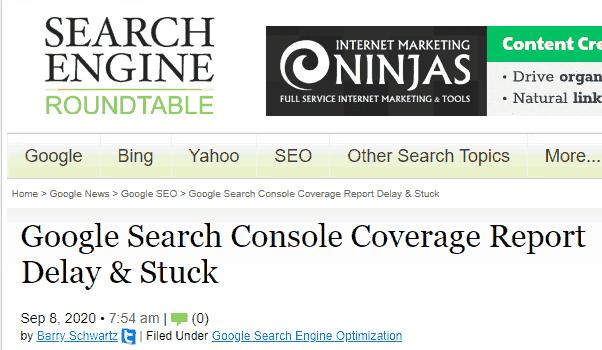 artikel tentang laporan cakupan google search console terlambat