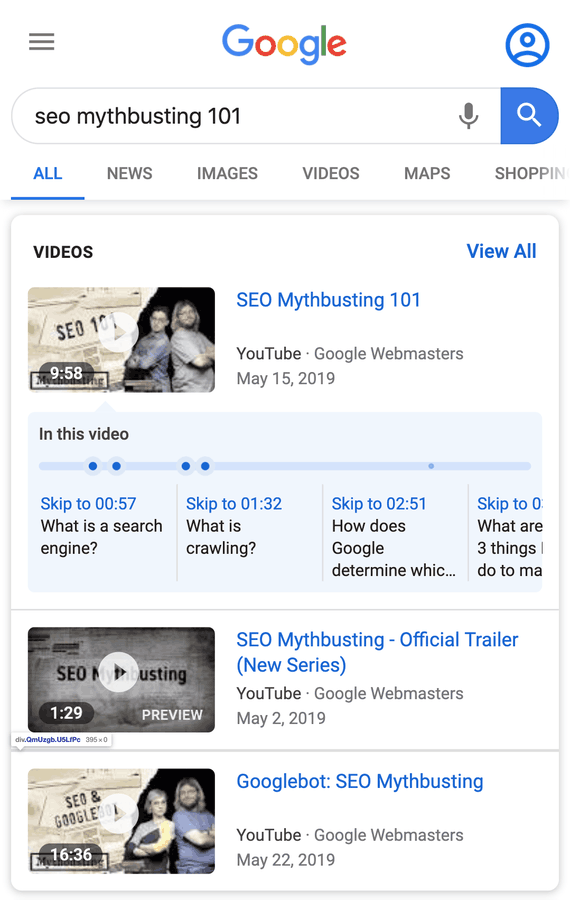 video seo contoh fitur key moment