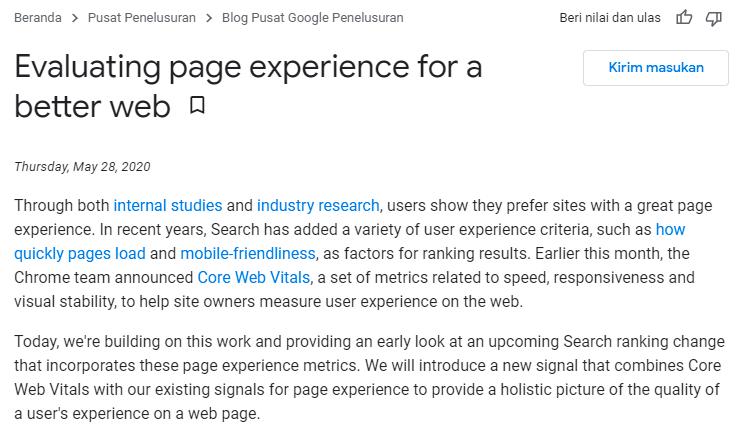 google page experience jadi ranking faktor