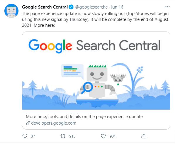 google page experience mulai diterapkan 16 juni 2021