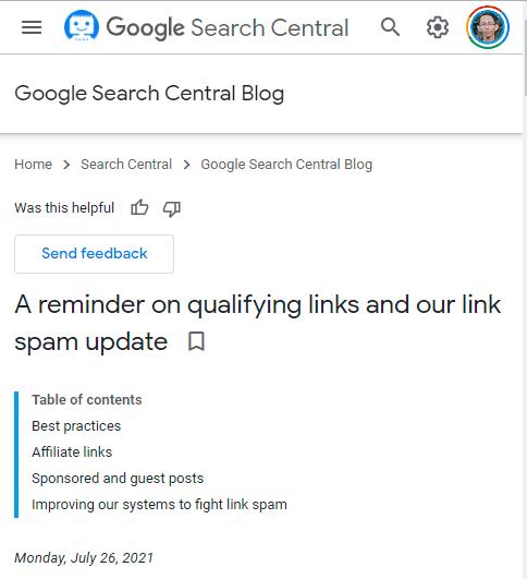 rilis google search central