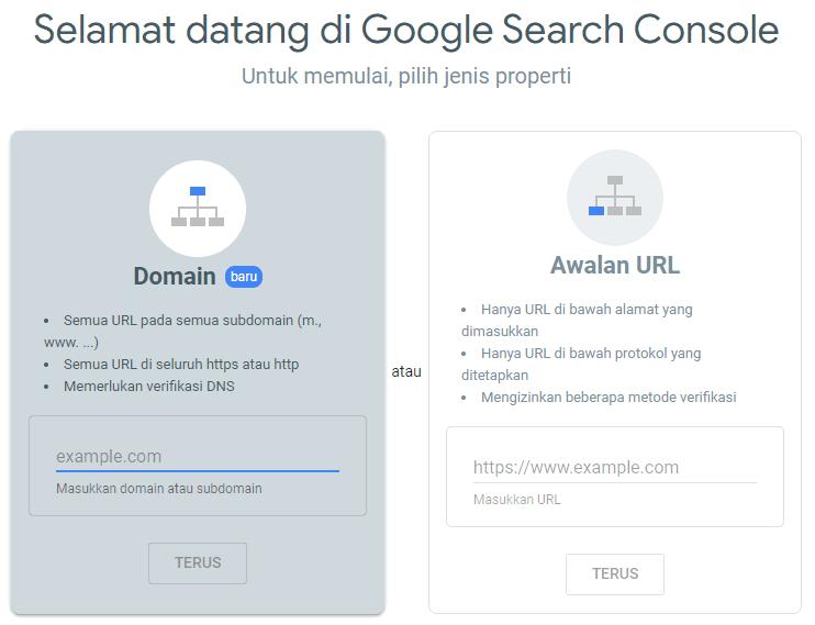 pilih jenis properti google search console