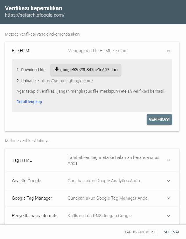 verifikasi properti awalan url google search console