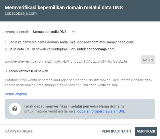 verifikasi properti domain google search console